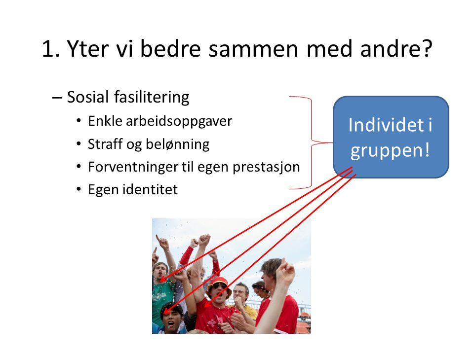Modell Gruppens prestasjon er kun individets prestasjon alene i gruppesammenhengen