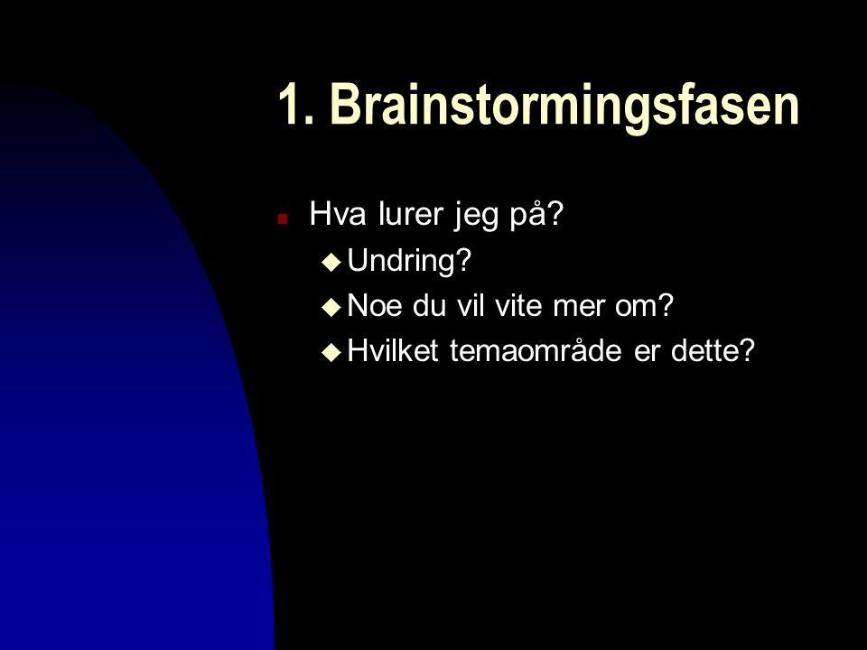 1. Brainstormingsfasen n Hva lurer jeg på? u Undring? u Noe du vil vite mer om? u Hvilket temaområde er dette?