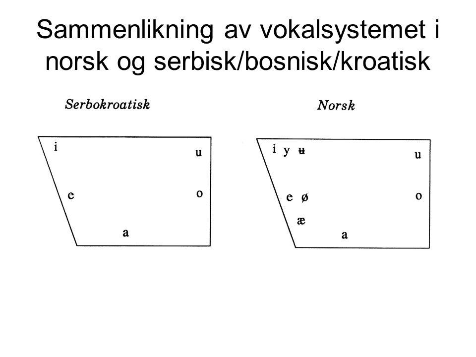 Sammenlikning av vokalsystemet i norsk og serbisk/bosnisk/kroatisk
