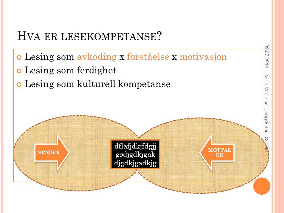 Lesing som avkoding x forståelse x motivasjon Lesing som ferdighet Lesing som kulturell kompetanse H VA ER LESEKOMPETANSE .