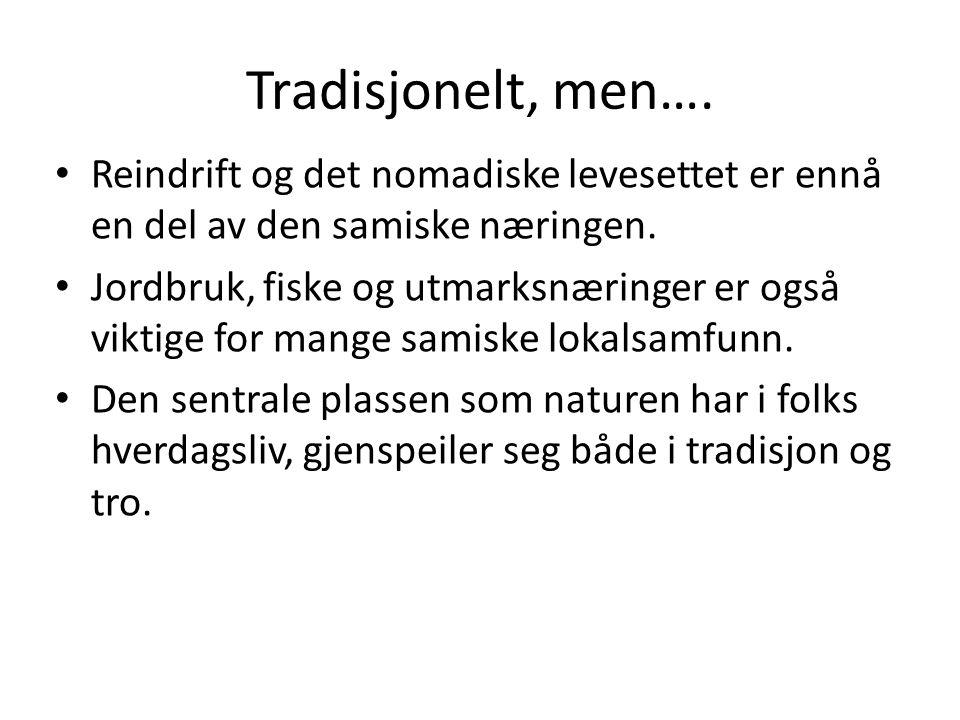 Tradisjonelt, men…. Reindrift og det nomadiske levesettet er ennå en del av den samiske næringen. Jordbruk, fiske og utmarksnæringer er også viktige f