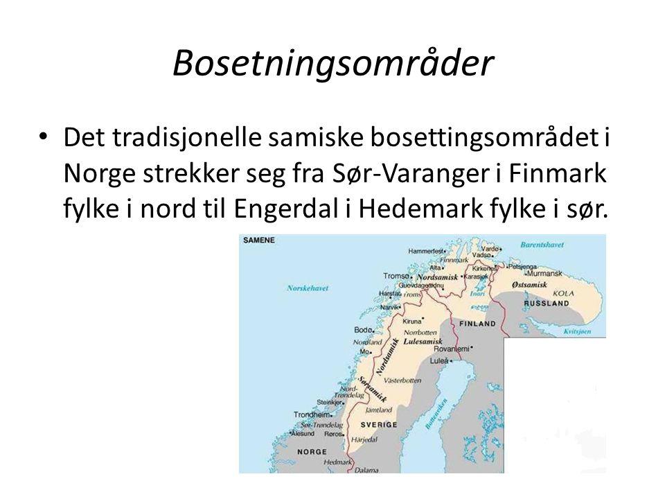 Bosetningsområder Det tradisjonelle samiske bosettingsområdet i Norge strekker seg fra Sør-Varanger i Finmark fylke i nord til Engerdal i Hedemark fyl