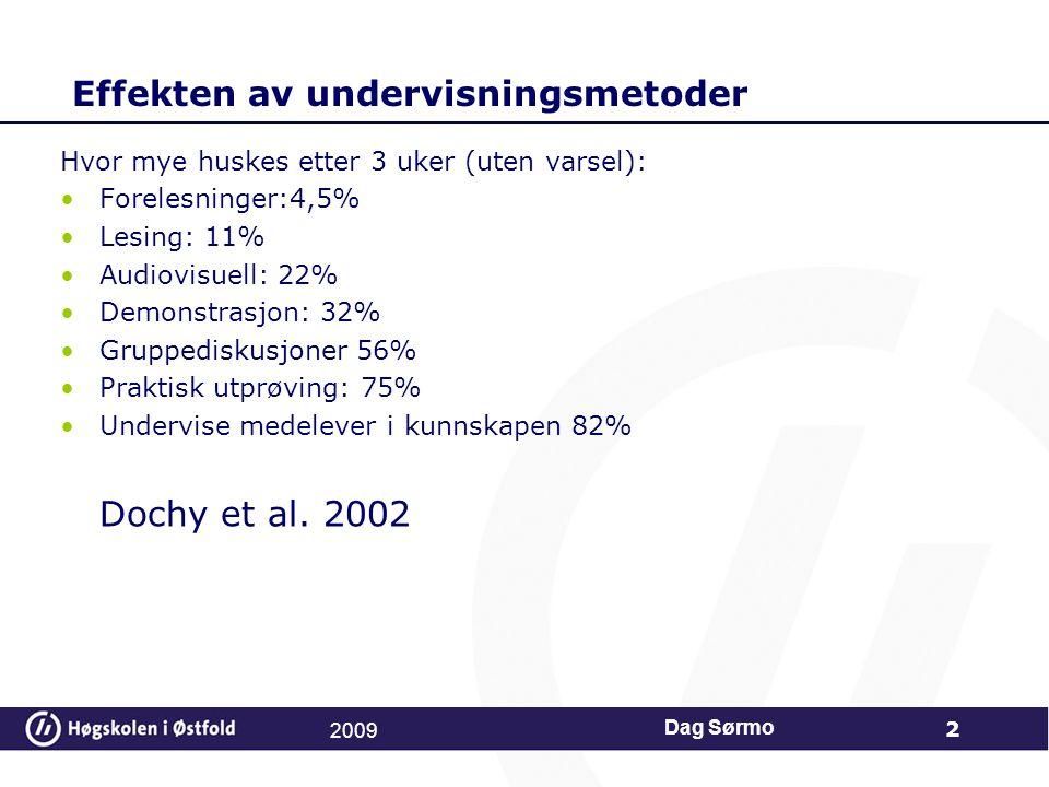 Effekten av undervisningsmetoder Hvor mye huskes etter 3 uker (uten varsel): Forelesninger:4,5% Lesing: 11% Audiovisuell: 22% Demonstrasjon: 32% Grupp
