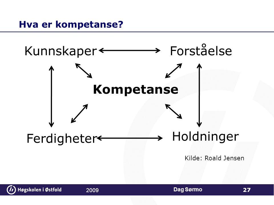 Hva er kompetanse? Dag Sørmo 27 KunnskaperForståelse Ferdigheter Holdninger Kompetanse Kilde: Roald Jensen 2009