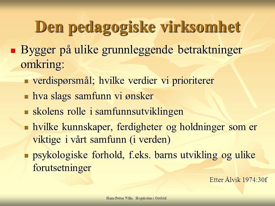 Hans Petter Wille, Høgskolen i Østfold Den pedagogiske virksomhet Bygger på ulike grunnleggende betraktninger omkring: Bygger på ulike grunnleggende b