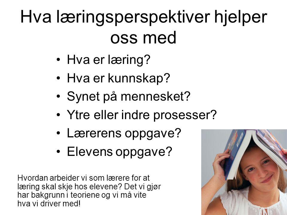 Læringsperspektiver En første innføring i læringsperspektiver med utgangspunkt Svanberg og Wille 2009.
