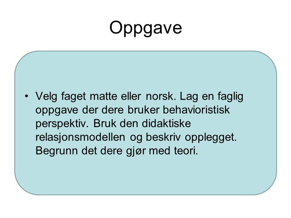 Nøkkelord behavioristisk perspektiv S-R læring Klassisk betinging Operant betinging Atferdsmodifikasjon Hva er kunnskap i behavioristisk perspektiv? H