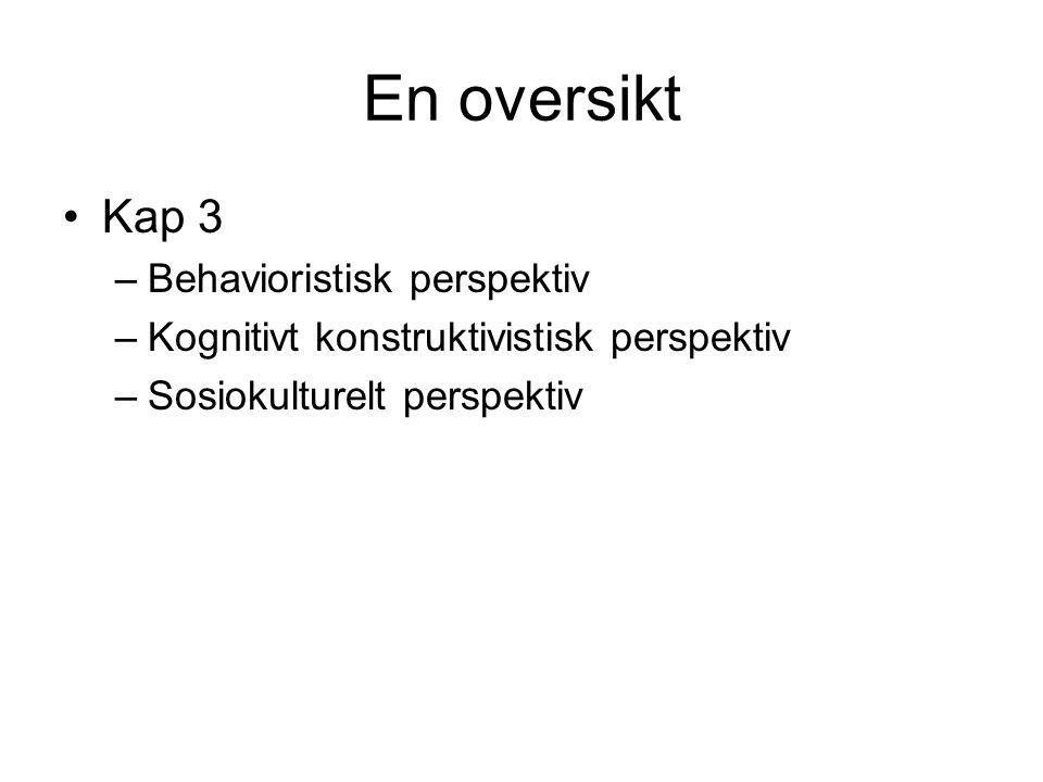 Kognitivt konstruktivistisk perspektiv Kap. 3, s. 75 – 79