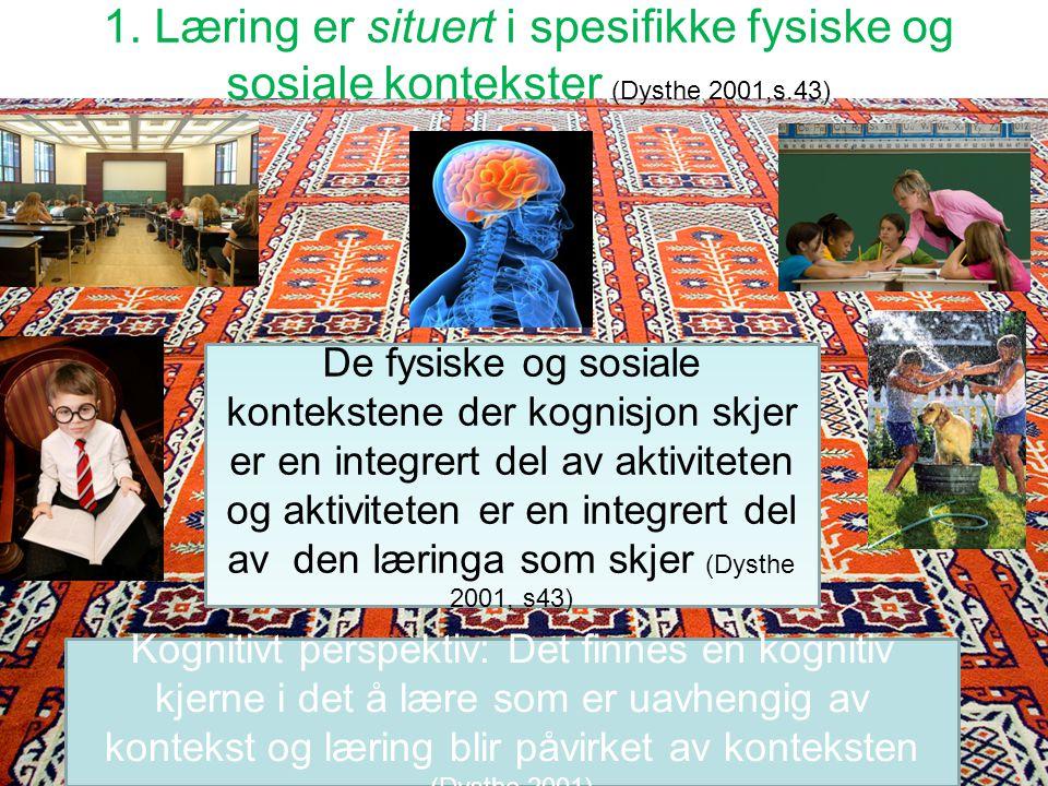 Viktige dimensjoner Læring er situert Læring er grunnleggende sosial Læring er distribuert Læring er mediert Språket er sentralt i læreprosesser Lærin