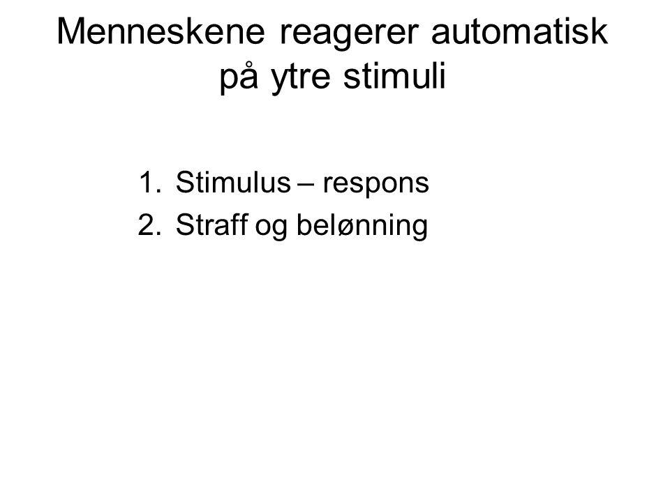 Menneskene reagerer automatisk på ytre stimuli 1.Stimulus – respons 2.Straff og belønning