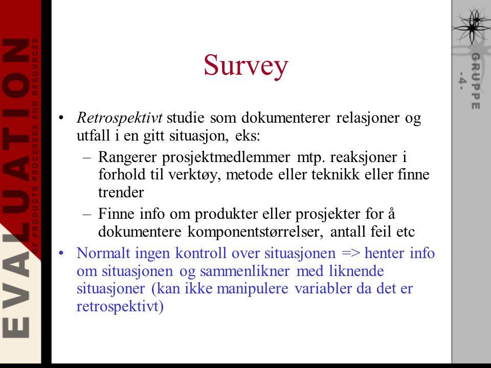 Survey Retrospektivt studie som dokumenterer relasjoner og utfall i en gitt situasjon, eks: –Rangerer prosjektmedlemmer mtp.