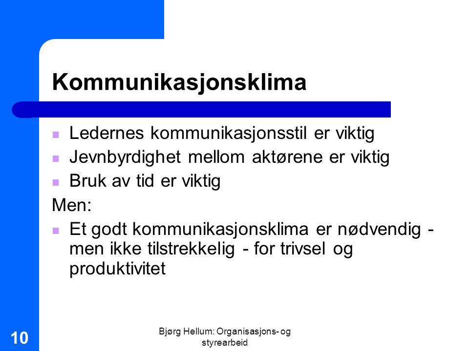 Bjørg Hellum: Organisasjons- og styrearbeid 10 Kommunikasjonsklima Ledernes kommunikasjonsstil er viktig Jevnbyrdighet mellom aktørene er viktig Bruk