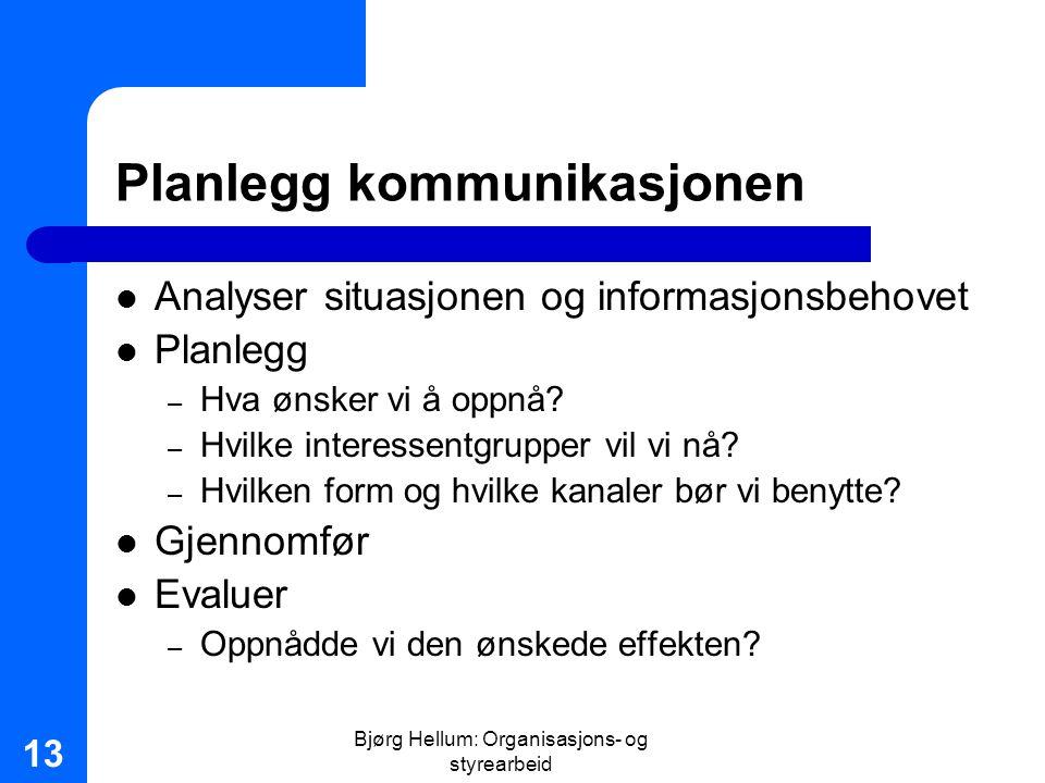Bjørg Hellum: Organisasjons- og styrearbeid 13 Planlegg kommunikasjonen Analyser situasjonen og informasjonsbehovet Planlegg – Hva ønsker vi å oppnå?