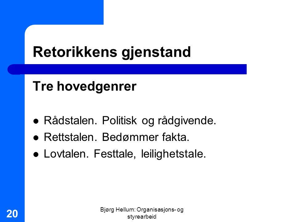 Bjørg Hellum: Organisasjons- og styrearbeid 20 Retorikkens gjenstand Tre hovedgenrer Rådstalen. Politisk og rådgivende. Rettstalen. Bedømmer fakta. Lo