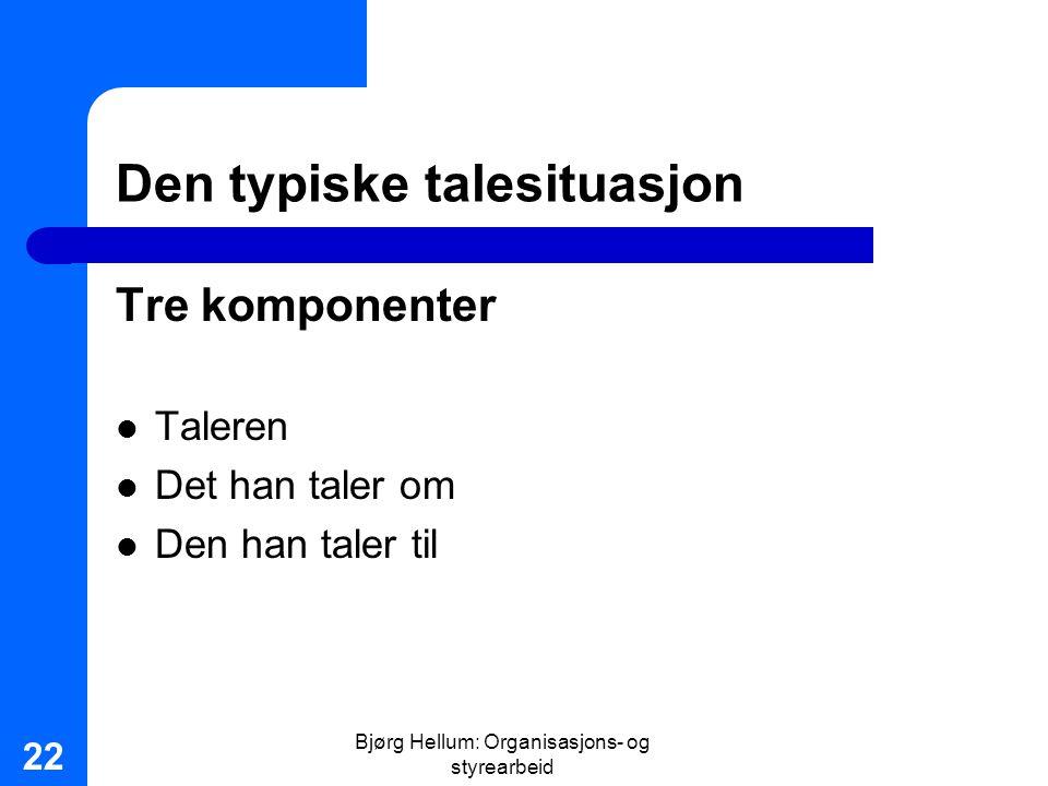 Bjørg Hellum: Organisasjons- og styrearbeid 22 Den typiske talesituasjon Tre komponenter Taleren Det han taler om Den han taler til