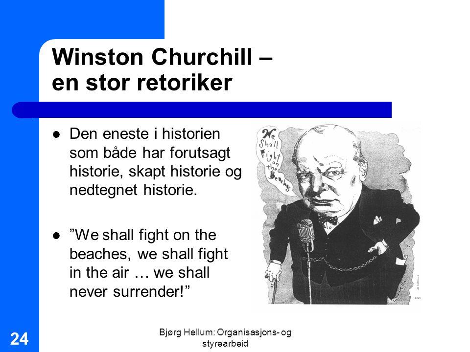 Bjørg Hellum: Organisasjons- og styrearbeid 24 Winston Churchill – en stor retoriker Den eneste i historien som både har forutsagt historie, skapt his