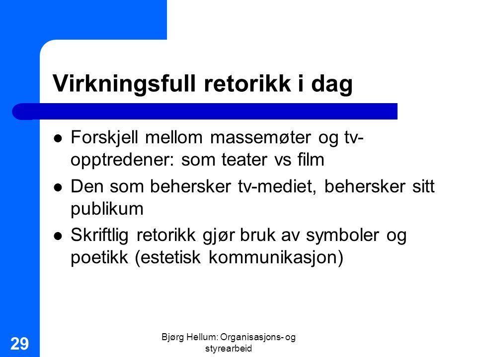 Bjørg Hellum: Organisasjons- og styrearbeid 29 Virkningsfull retorikk i dag Forskjell mellom massemøter og tv- opptredener: som teater vs film Den som