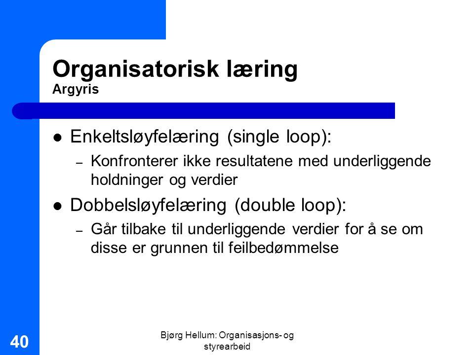 Bjørg Hellum: Organisasjons- og styrearbeid 40 Organisatorisk læring Argyris Enkeltsløyfelæring (single loop): – Konfronterer ikke resultatene med und