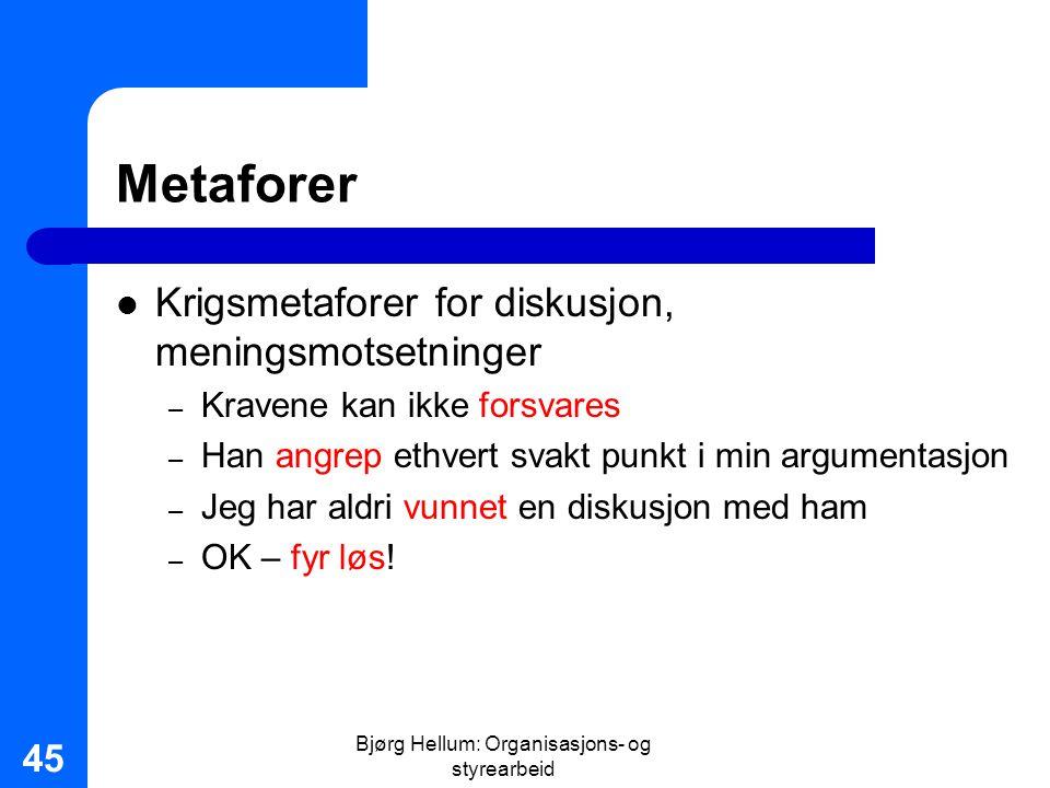 Bjørg Hellum: Organisasjons- og styrearbeid 45 Metaforer Krigsmetaforer for diskusjon, meningsmotsetninger – Kravene kan ikke forsvares – Han angrep e
