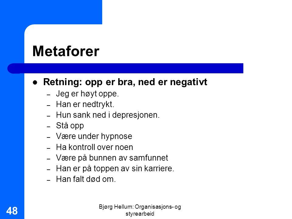 Bjørg Hellum: Organisasjons- og styrearbeid 48 Metaforer Retning: opp er bra, ned er negativt – Jeg er høyt oppe. – Han er nedtrykt. – Hun sank ned i