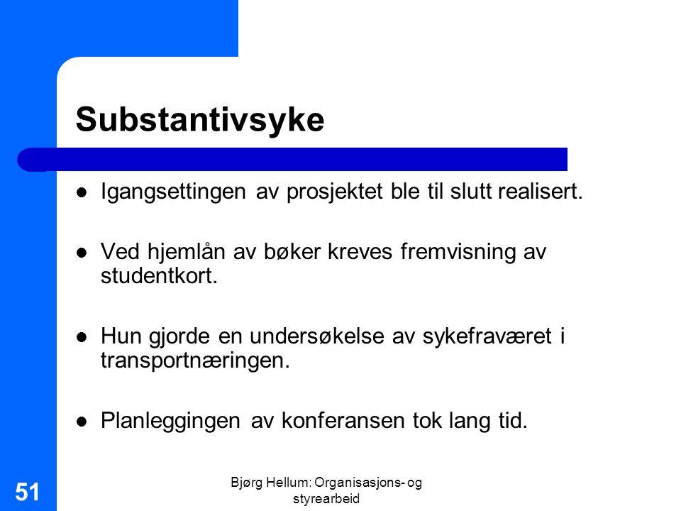 Bjørg Hellum: Organisasjons- og styrearbeid 51 Substantivsyke Igangsettingen av prosjektet ble til slutt realisert. Ved hjemlån av bøker kreves fremvi