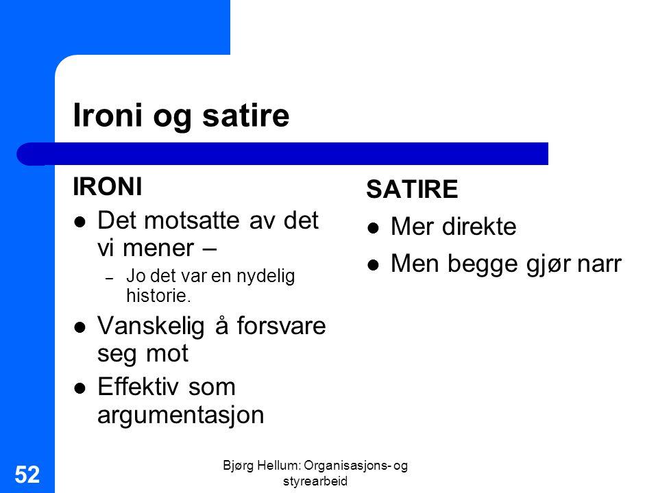Bjørg Hellum: Organisasjons- og styrearbeid 52 Ironi og satire IRONI Det motsatte av det vi mener – – Jo det var en nydelig historie. Vanskelig å fors