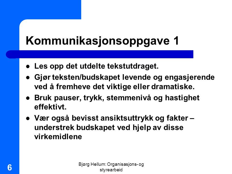 Bjørg Hellum: Organisasjons- og styrearbeid 37 Kommunikasjonsoppgave 3 Snakk i to minutter om et tema som opptar deg Uten manuskript Stående, foran tilhørerne Tenk mimikk, kroppsspråk, bevegelser og stemme Tenk åpning og slutt