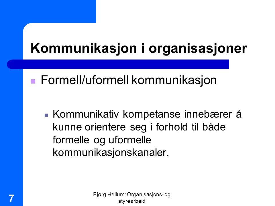 Bjørg Hellum: Organisasjons- og styrearbeid 8 Kommunikasjon i organisasjoner Personlige nettverk Effektive Stadig mer betydningsfulle Etableres gjennom direkte kontakt, som samarbeid Særlig viktige i endringsprosesser Innebærer makt Større skepsis og mer åpen kommunikasjon