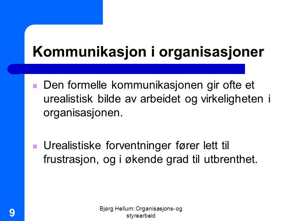Bjørg Hellum: Organisasjons- og styrearbeid 40 Organisatorisk læring Argyris Enkeltsløyfelæring (single loop): – Konfronterer ikke resultatene med underliggende holdninger og verdier Dobbelsløyfelæring (double loop): – Går tilbake til underliggende verdier for å se om disse er grunnen til feilbedømmelse