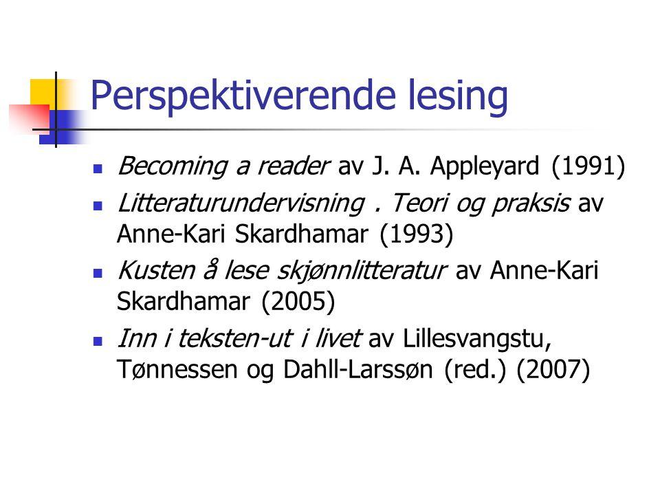 Perspektiverende lesing Becoming a reader av J.A.