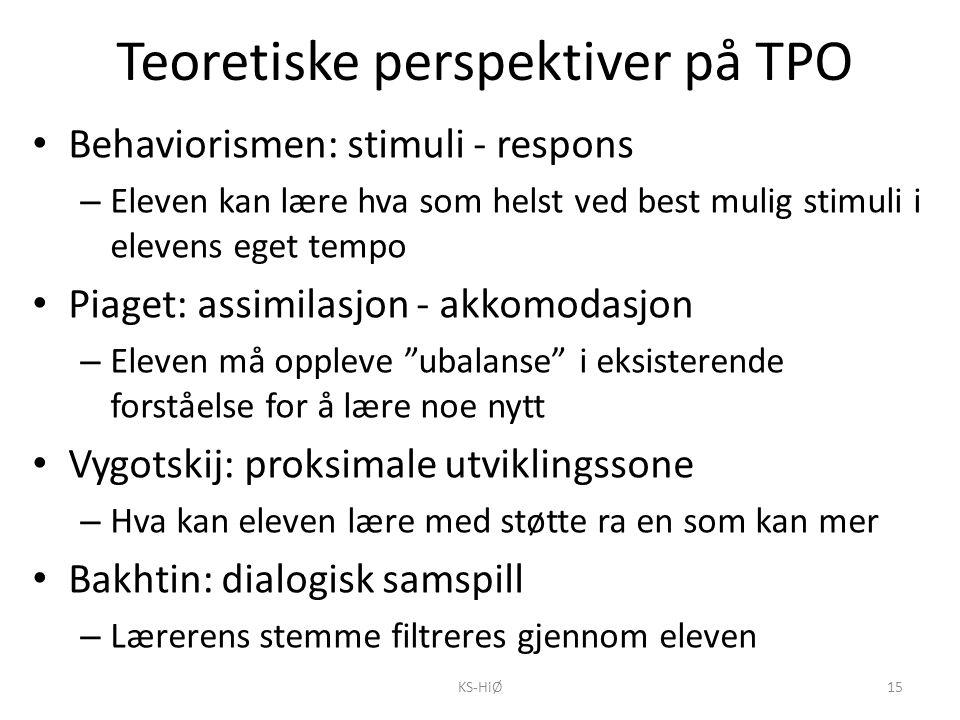 Teoretiske perspektiver på TPO Behaviorismen: stimuli - respons – Eleven kan lære hva som helst ved best mulig stimuli i elevens eget tempo Piaget: as