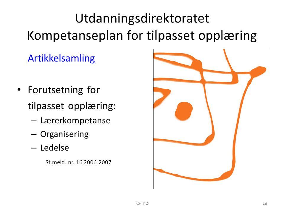 Utdanningsdirektoratet Kompetanseplan for tilpasset opplæring Artikkelsamling Forutsetning for tilpasset opplæring: – Lærerkompetanse – Organisering –
