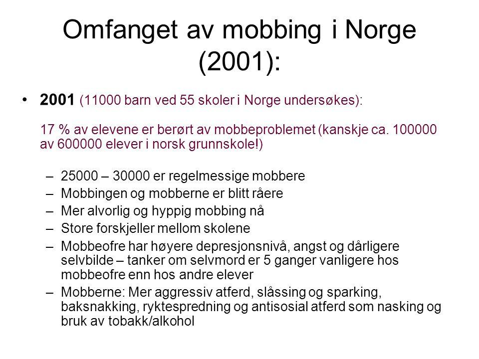 Omfanget av mobbing i Norge (2001): 2001 (11000 barn ved 55 skoler i Norge undersøkes): 17 % av elevene er berørt av mobbeproblemet (kanskje ca.
