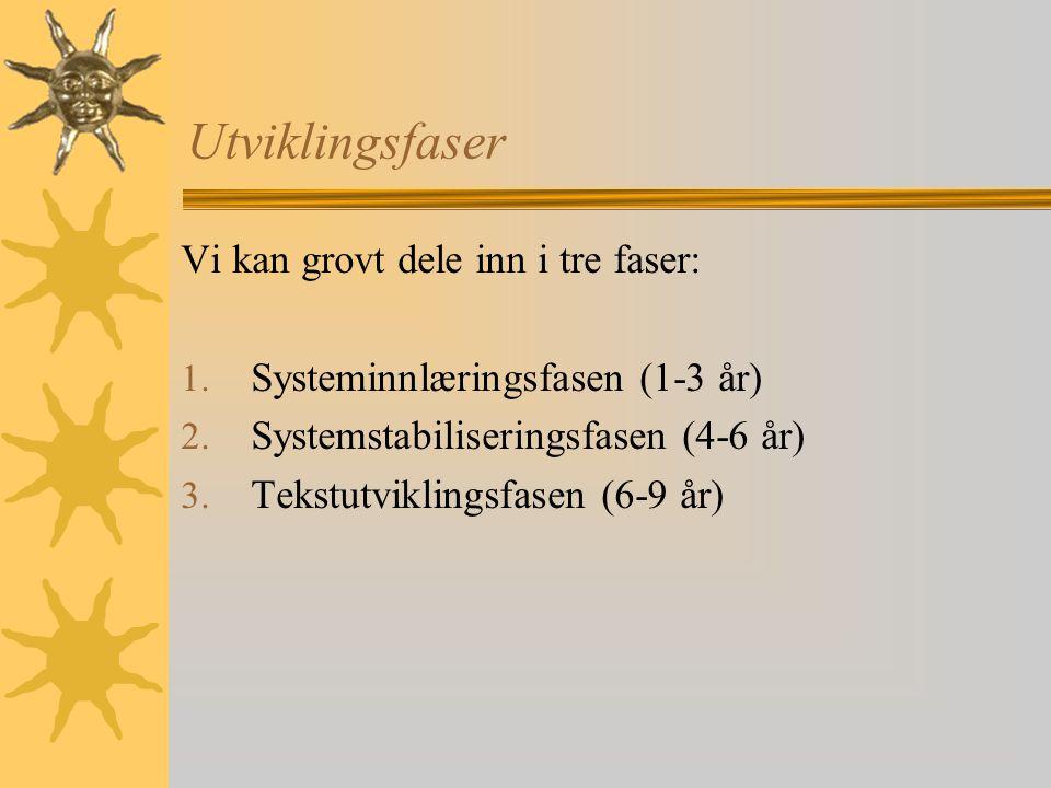 Utviklingsfaser Vi kan grovt dele inn i tre faser: 1. Systeminnlæringsfasen (1-3 år) 2. Systemstabiliseringsfasen (4-6 år) 3. Tekstutviklingsfasen (6-
