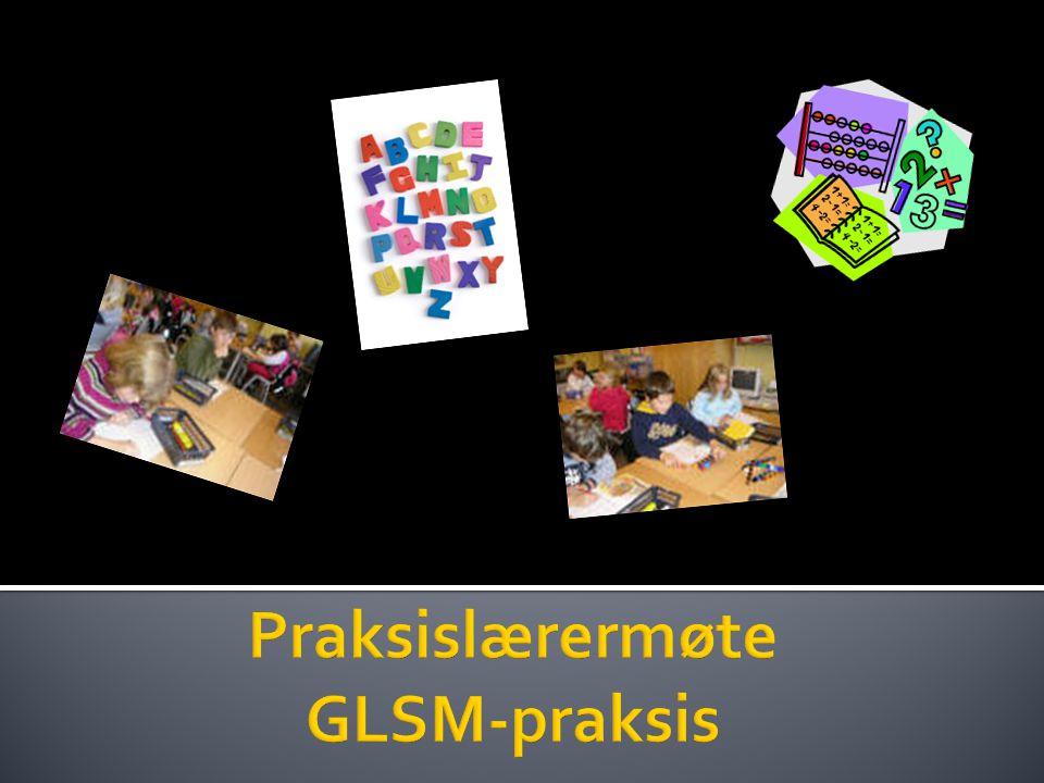  Informasjon om:  GLSM  Innhold og organisering av praksis i uke 38  Oversikt over praksisgrupper  Informasjon om vurderingsrapport  Møte med studentene kl.