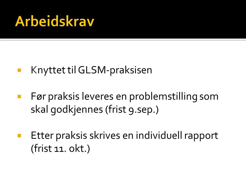  Knyttet til GLSM-praksisen  Før praksis leveres en problemstilling som skal godkjennes (frist 9.sep.)  Etter praksis skrives en individuell rappor
