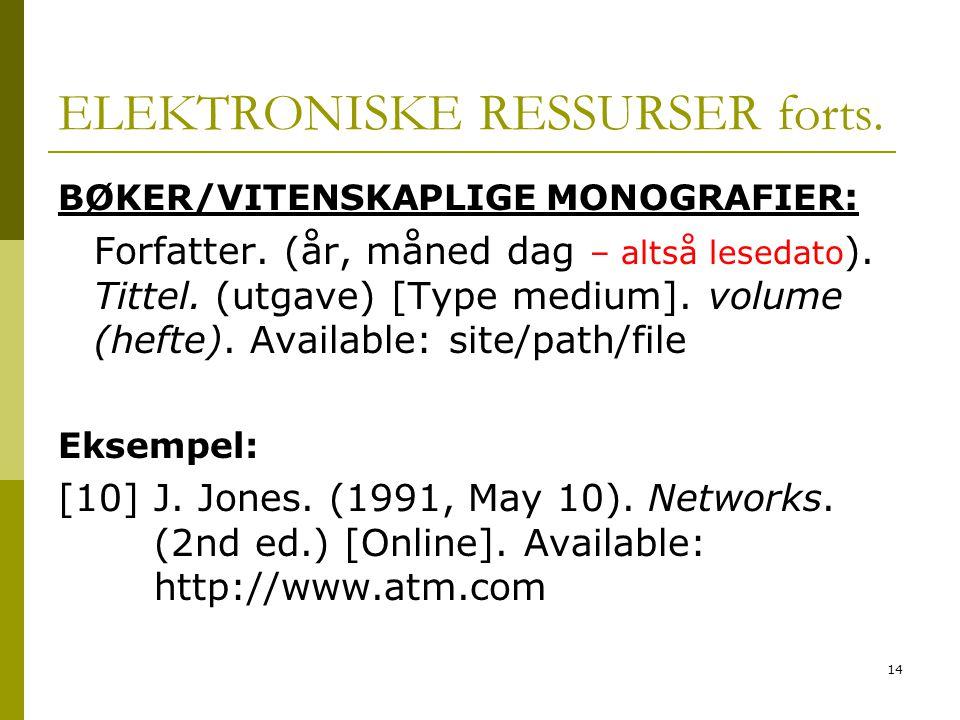 14 ELEKTRONISKE RESSURSER forts.BØKER/VITENSKAPLIGE MONOGRAFIER : Forfatter.