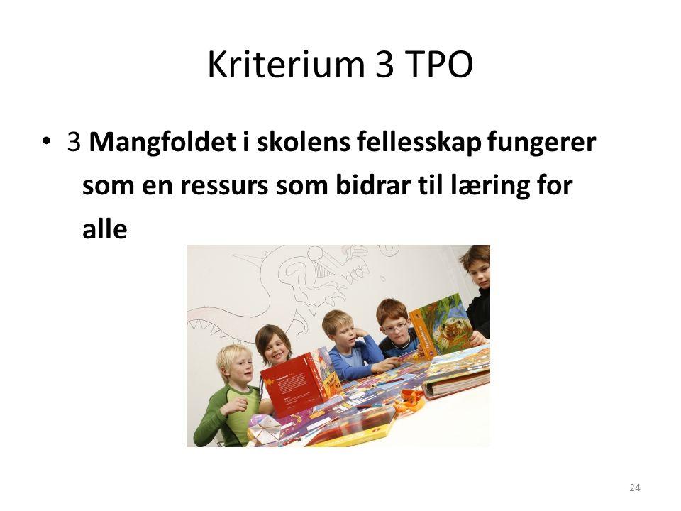 24 Kriterium 3 TPO 3 Mangfoldet i skolens fellesskap fungerer som en ressurs som bidrar til læring for alle
