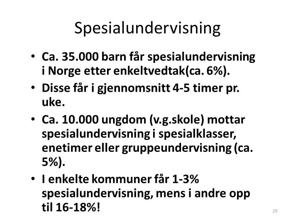 29 Spesialundervisning Ca. 35.000 barn får spesialundervisning i Norge etter enkeltvedtak(ca. 6%). Disse får i gjennomsnitt 4-5 timer pr. uke. Ca. 10.