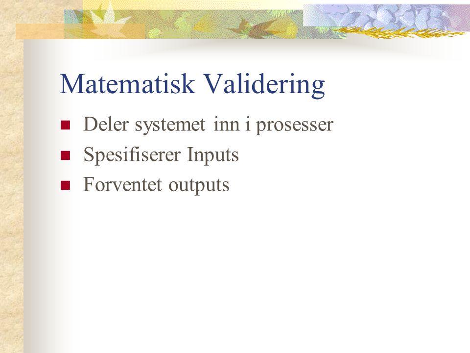 Matematisk Validering Deler systemet inn i prosesser Spesifiserer Inputs Forventet outputs