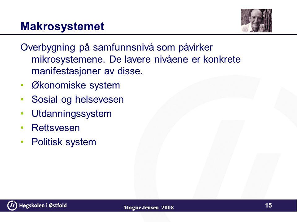 Makrosystemet Overbygning på samfunnsnivå som påvirker mikrosystemene.