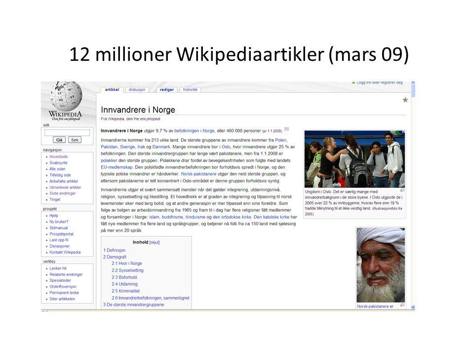12 millioner Wikipediaartikler (mars 09) http://meta.wikimedia.org/wiki/List_of_Wikipedias#Grand_Total