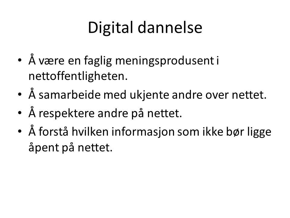 Digital dannelse Å være en faglig meningsprodusent i nettoffentligheten. Å samarbeide med ukjente andre over nettet. Å respektere andre på nettet. Å f