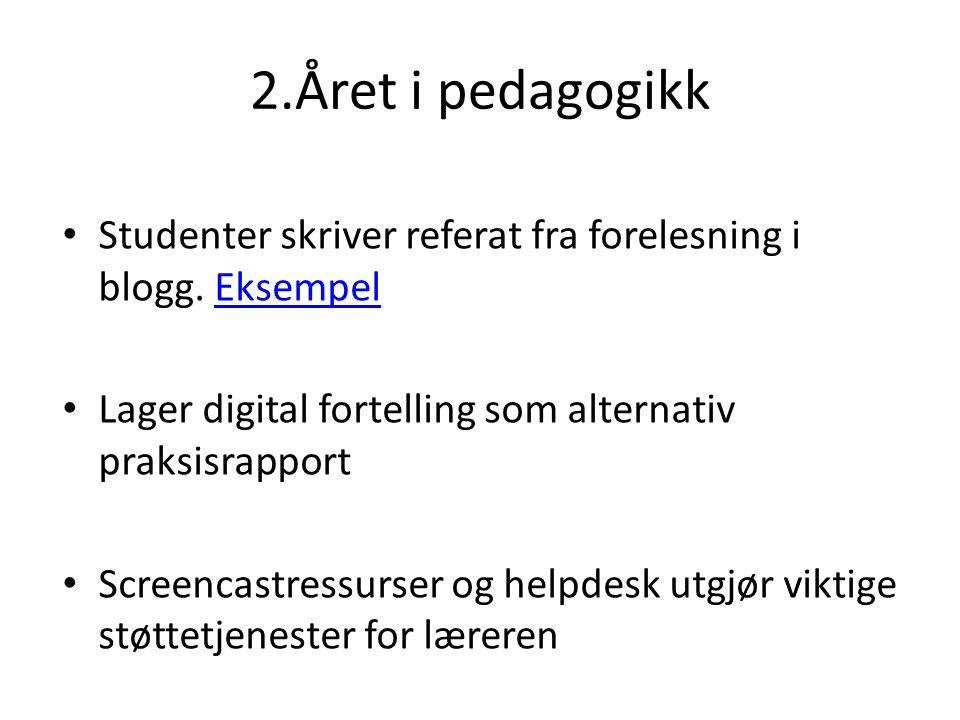 2.Året i pedagogikk Studenter skriver referat fra forelesning i blogg. EksempelEksempel Lager digital fortelling som alternativ praksisrapport Screenc