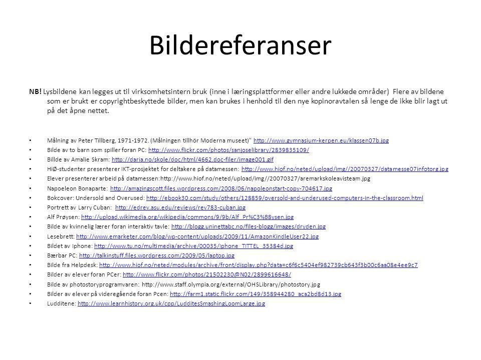 Bildereferanser NB! Lysbildene kan legges ut til virksomhetsintern bruk (inne i læringsplattformer eller andre lukkede områder) Flere av bildene som e