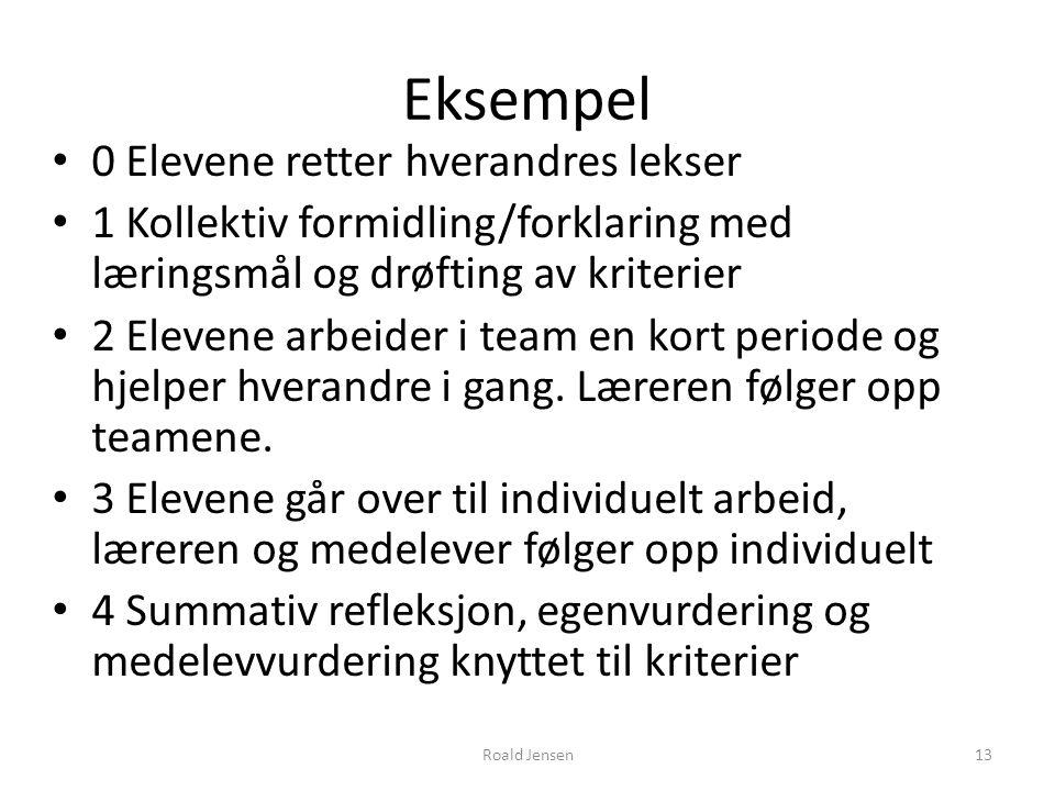 Eksempel 0 Elevene retter hverandres lekser 1 Kollektiv formidling/forklaring med læringsmål og drøfting av kriterier 2 Elevene arbeider i team en kor