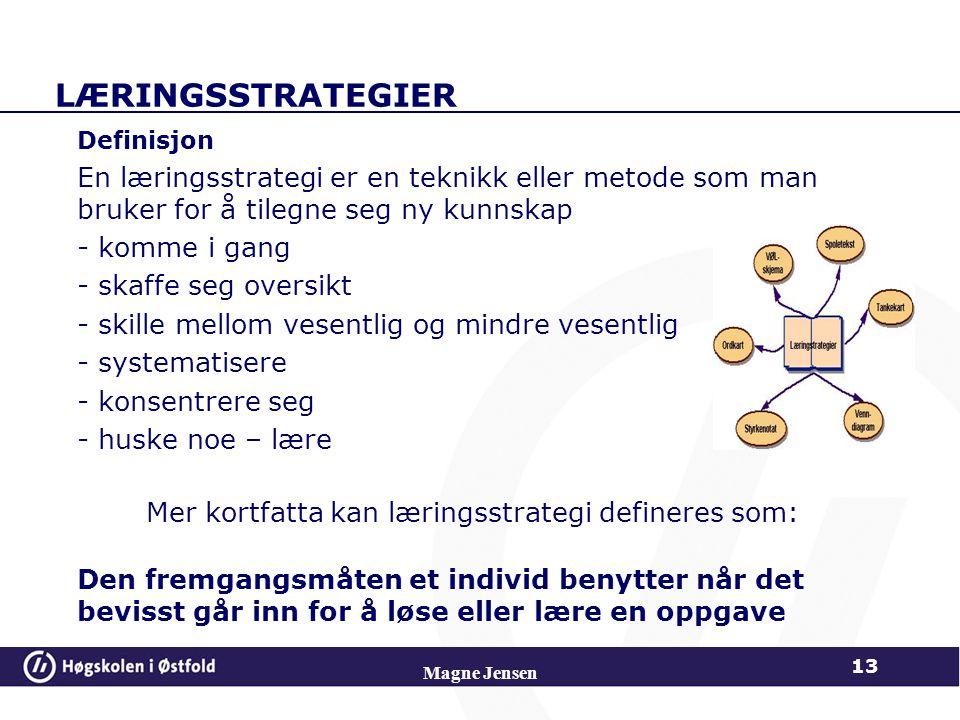 LÆRINGSSTRATEGIER Definisjon En læringsstrategi er en teknikk eller metode som man bruker for å tilegne seg ny kunnskap - komme i gang - skaffe seg ov