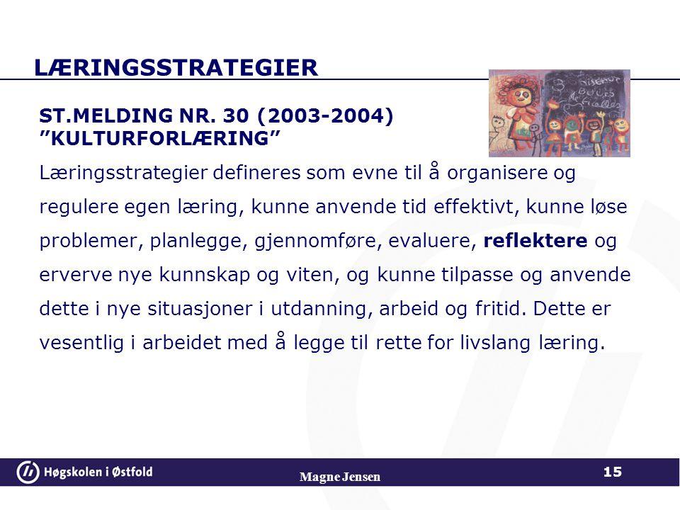 """LÆRINGSSTRATEGIER ST.MELDING NR. 30 (2003-2004) """"KULTURFORLÆRING"""" Læringsstrategier defineres som evne til å organisere og regulere egen læring, kunne"""