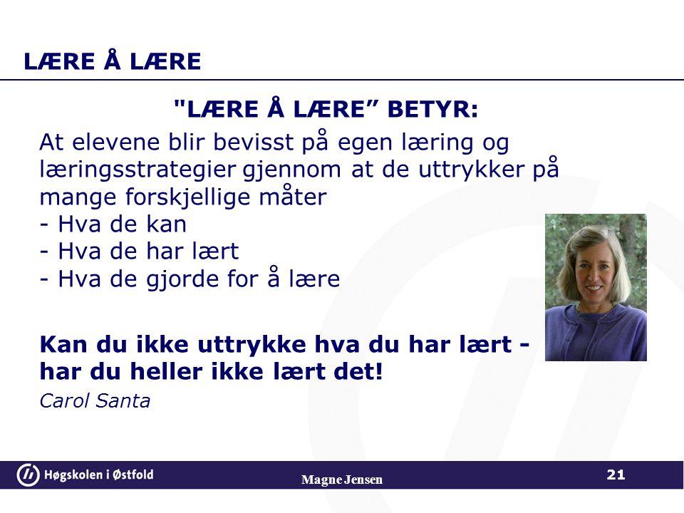LÆRE Å LÆRE
