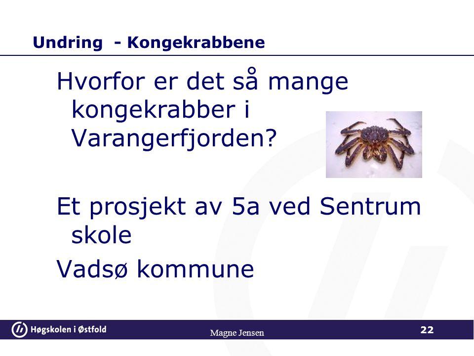 Magne Jensen 22 Undring - Kongekrabbene Hvorfor er det så mange kongekrabber i Varangerfjorden? Et prosjekt av 5a ved Sentrum skole Vadsø kommune